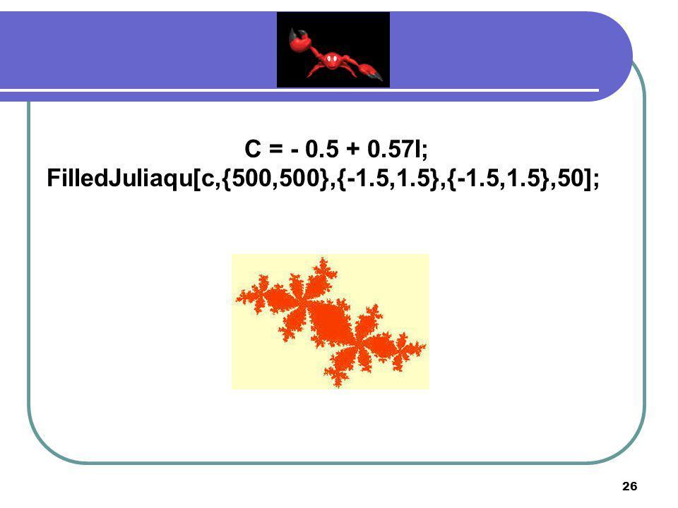 C = - 0.5 + 0.57I; FilledJuliaqu[c,{500,500},{-1.5,1.5},{-1.5,1.5},50];